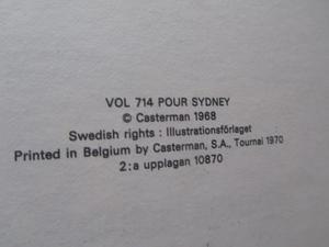 Tintin 16 Plan 714 till Sydney 2:a uppl. 1970 Vg