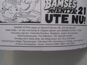 Bamse Extra 2009 Nalle-Maja, en tjej med tjong