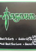 "Magnum Back to Earth / Hold Back Your Love / Soldier on the Line (live) / Sacred Hour (live) 2 st 7"" singlar"